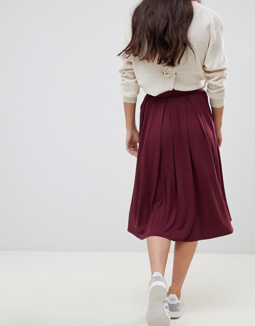 9c7ae14aa4 ASOS Asos Design Petite Midi Skirt With Box Pleats in Red - Lyst
