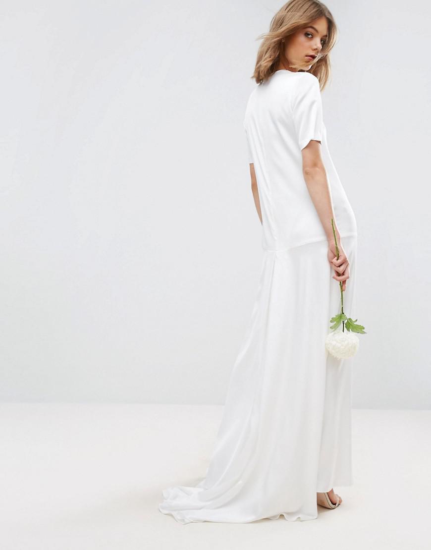 0dcff27d4b1 Asos Asos Edition Fishtail Maxi Wedding Dress in White - Lyst