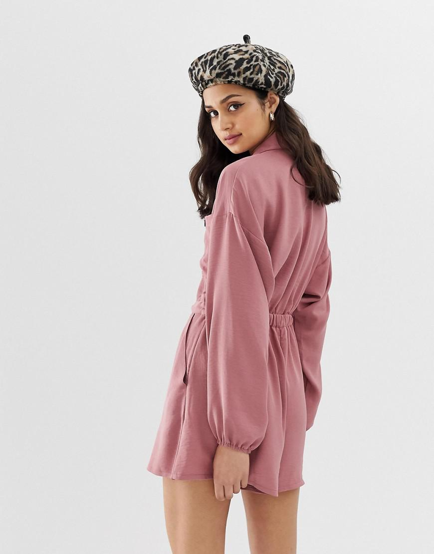 f946bfc481 Lyst - Asos Slouchy Waisted Boiler Playsuit in Pink