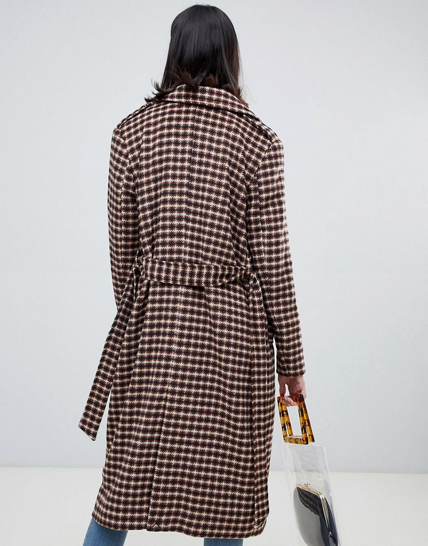 Lyst - SELECTED Femme Check Wool Wrap Coat af262df2642