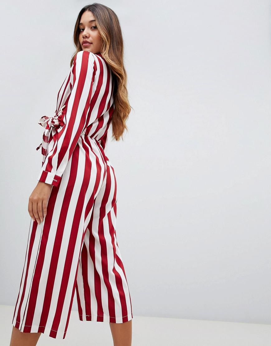5bd1a6c681c2 Lyst - Boohoo Tie Side Culotte Jumpsuit In Red And White Stripe in Red
