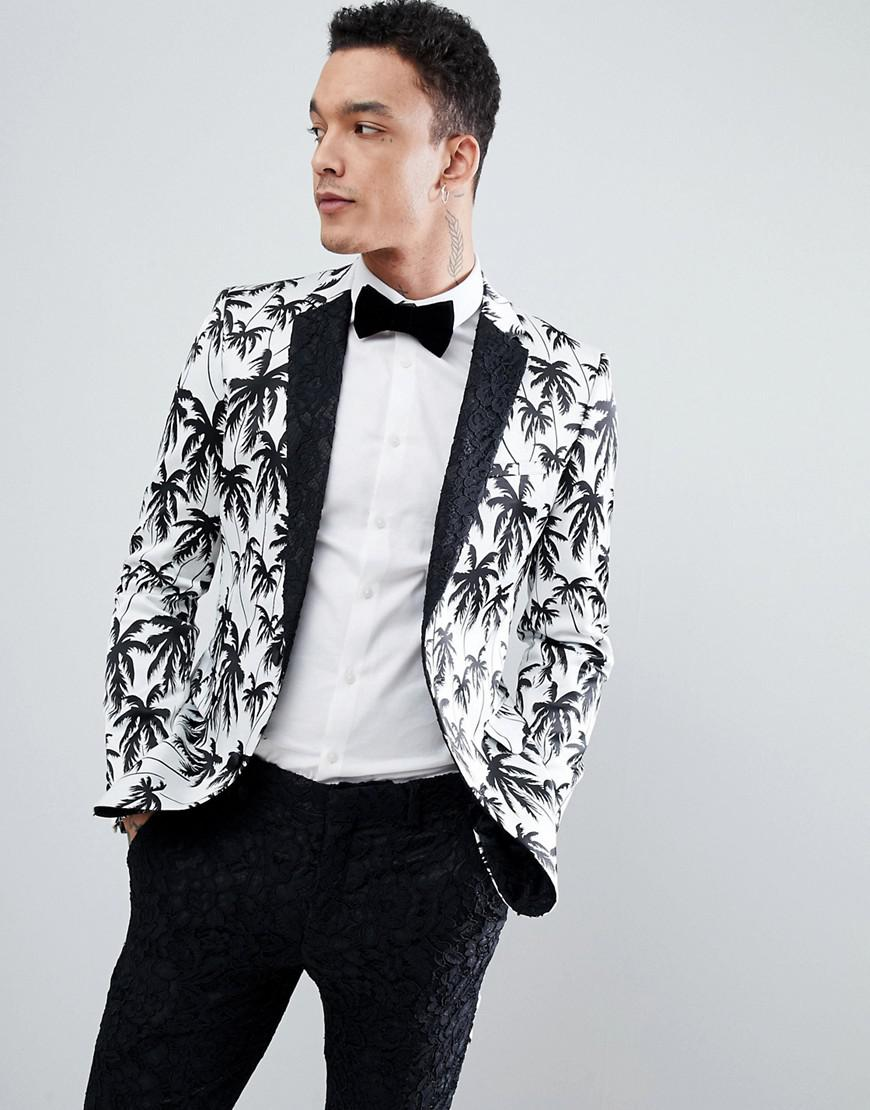 ASOS Super Skinny Suit Jacket In Black And White Palm Tree Print ... 2643589377