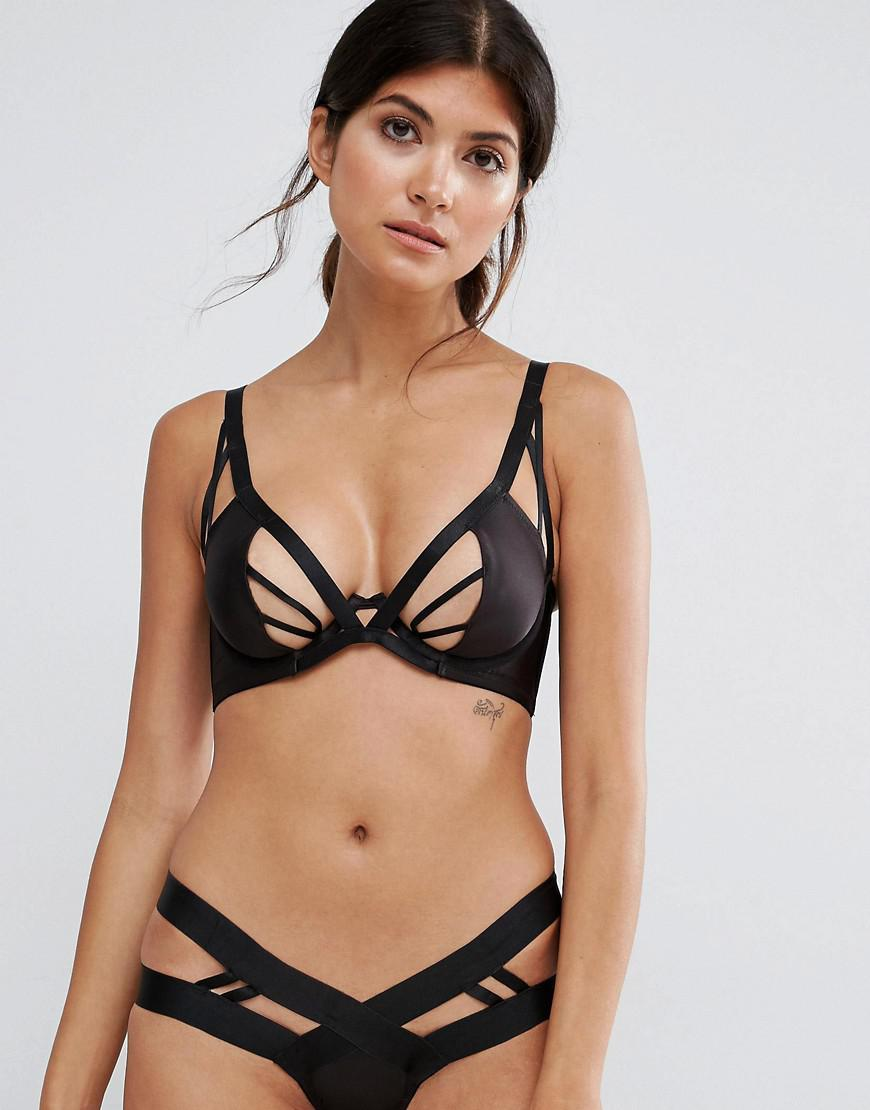 020d02955f Lyst - Wolf   Whistle Satin Cut Out V Strap Bra in Black