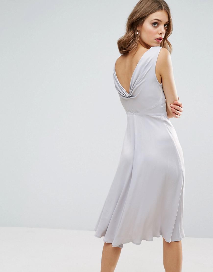 Lyst - Asos Design Bridesmaid 40s Seamed Satin Midi Dress in Blue