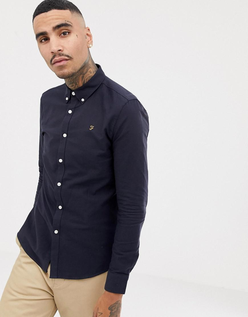 2bae4c78137 Lyst - Farah Brewer Slim Fit Oxford Shirt In Navy in Blue for Men