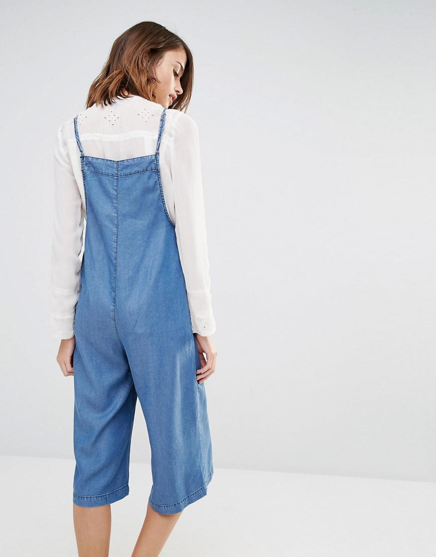 c57705f6a125 Lyst - Warehouse Strappy Culotte Jumpsuit in Blue