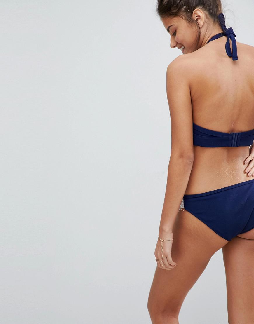39b9b26e05456 Lyst - Wolf   Whistle Exclusive Lace Trim Bikini Bottom in Blue