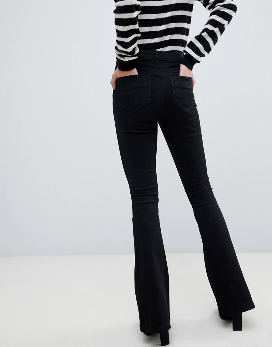 db4ffe4d1 ASOS Bell Flare Jeans In Clean Black With Pressed Crease in Black - Lyst