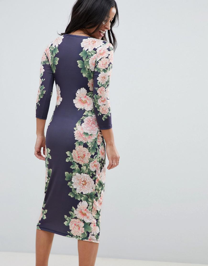 ba4f5437cc6 Lyst - Bluebelle Maternity Bodycon Floral Dress With Sleeve in Blue