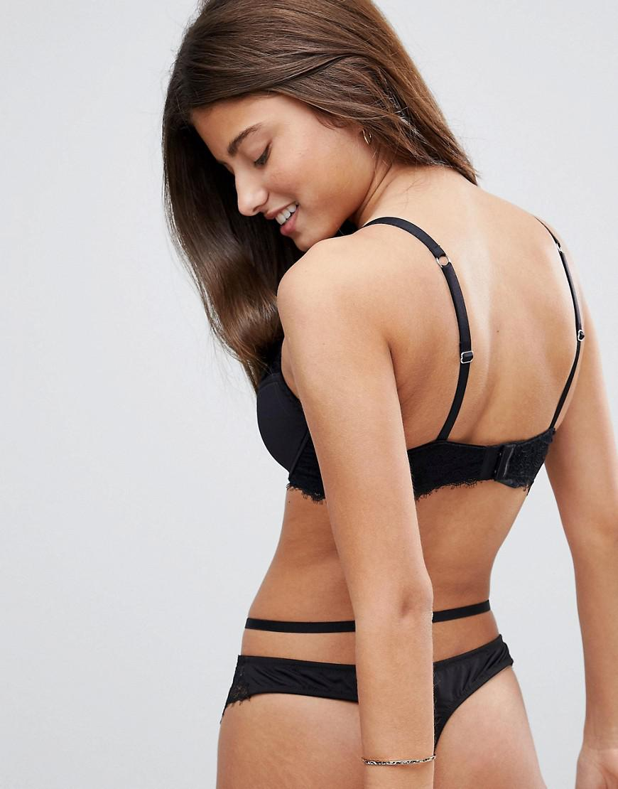 219682dc99060 Lyst - ASOS Asos Fuller Bust Veda Microfibre   Lace Padded Underwire Bra in  Black