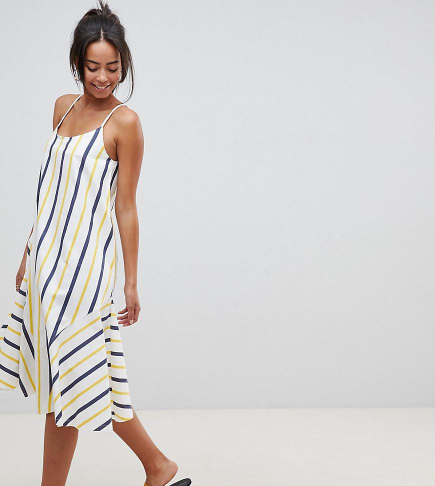 d73eef88fff ASOS. Women s Asos Design Tall Stripe Swing Trapeze Midi Sundress With Lace  Up Back