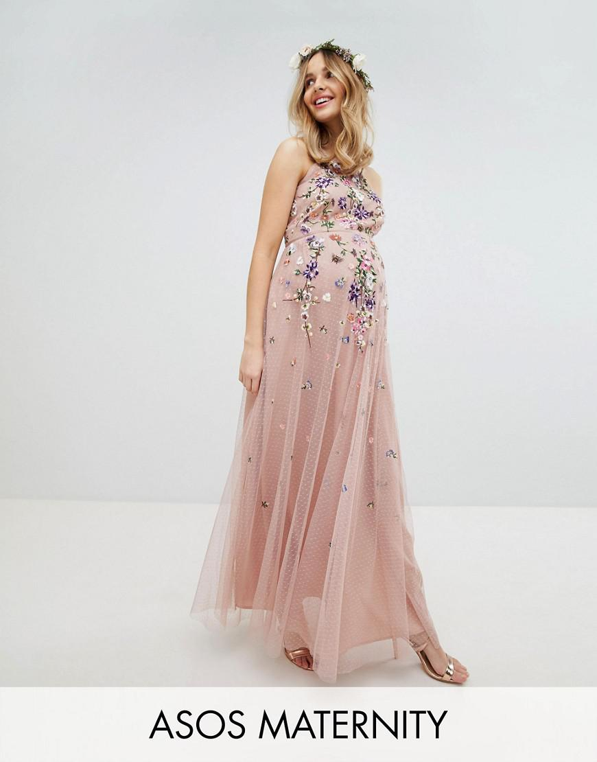 Lyst - Asos Asos Design Maternity Bridesmaid Floral Embroidered ...