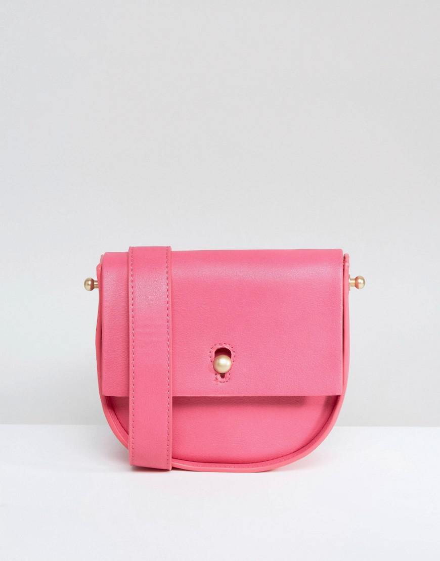 7ea088a2526 Lyst - Warehouse Keyhole Saddle Bag in Pink