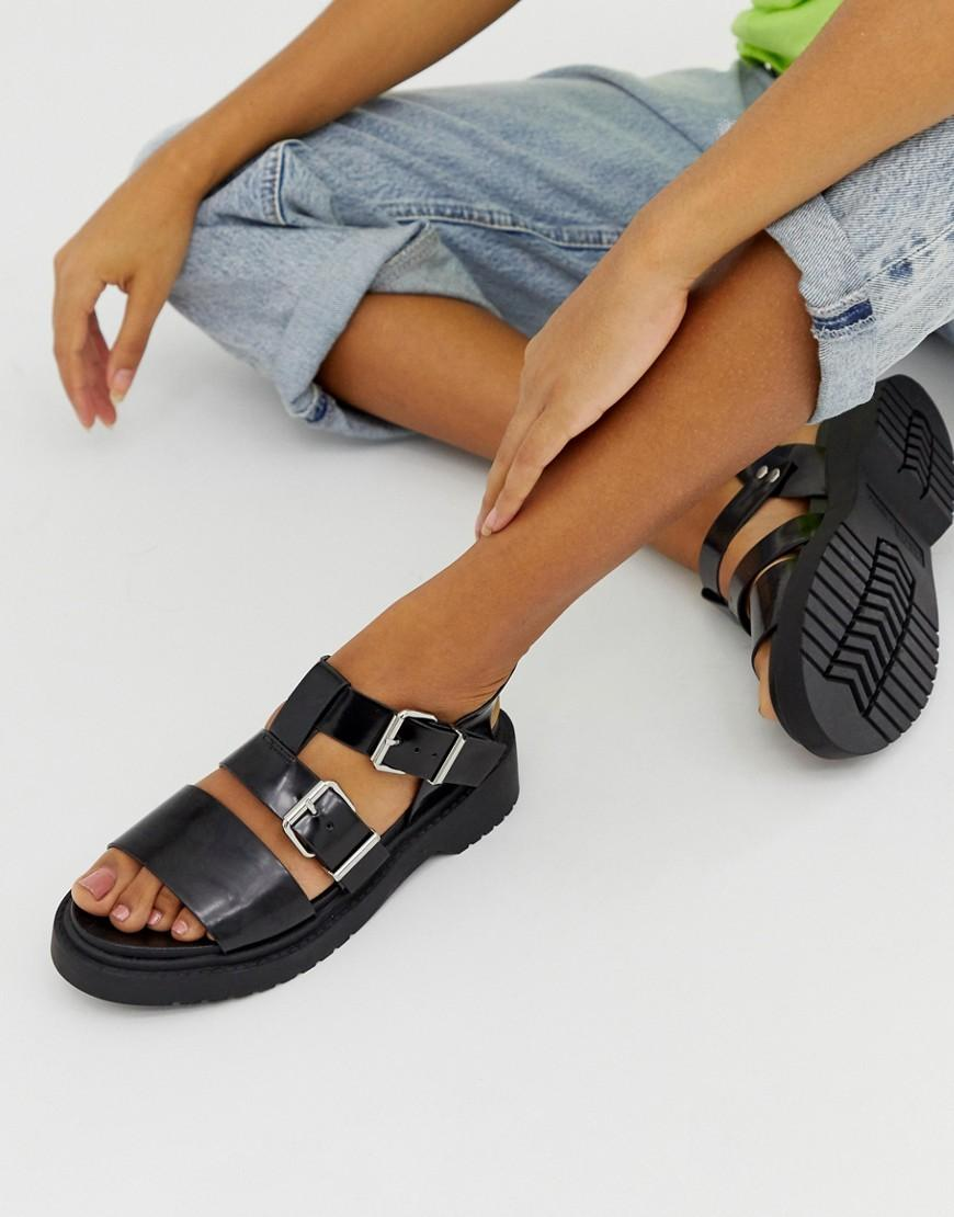 211bc785f2a3 Lyst - ASOS Fate Chunky Flat Sandals in Black