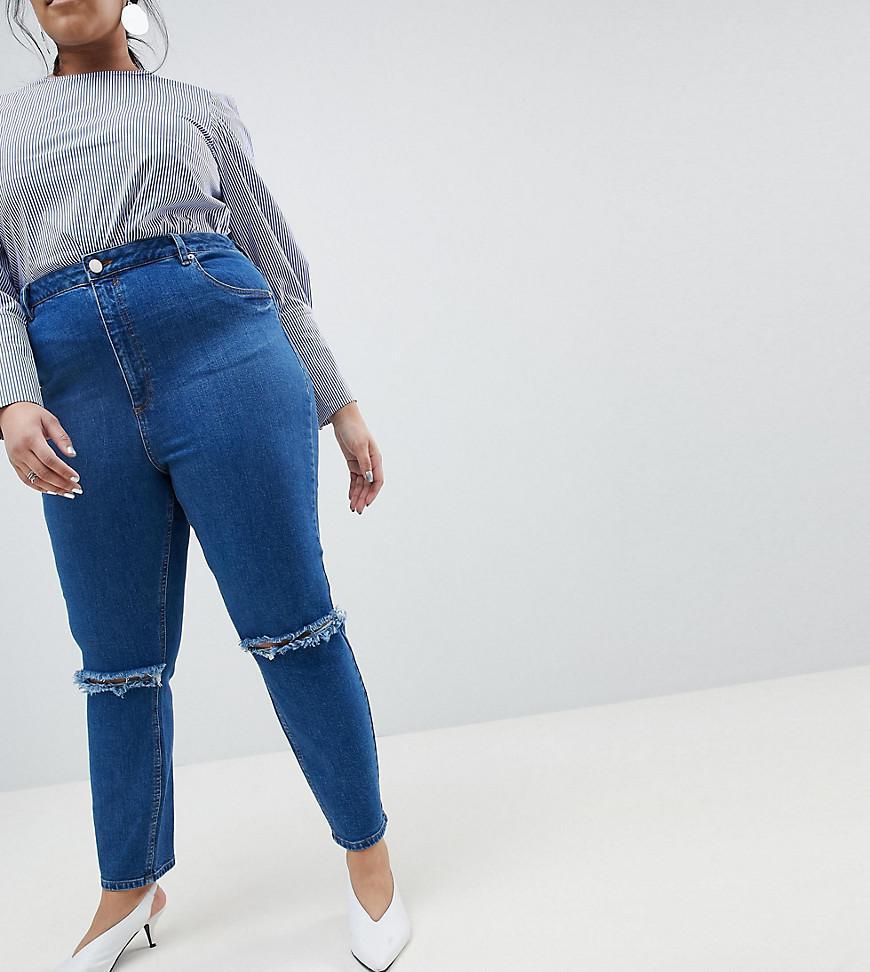 Courbe De Conception Asos Farleigh Haute Jean Slim Maman De Taille En Lavis Bleu Vieilli - Courbe De Lavage Mi Asos Bleu rrelBjp