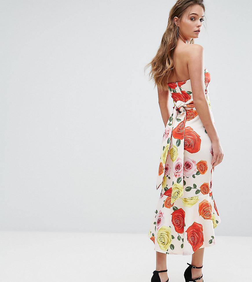 119aef338f5 Lyst - True Violet Bandeau Midi Dress With Bow Back And Peplum Hem