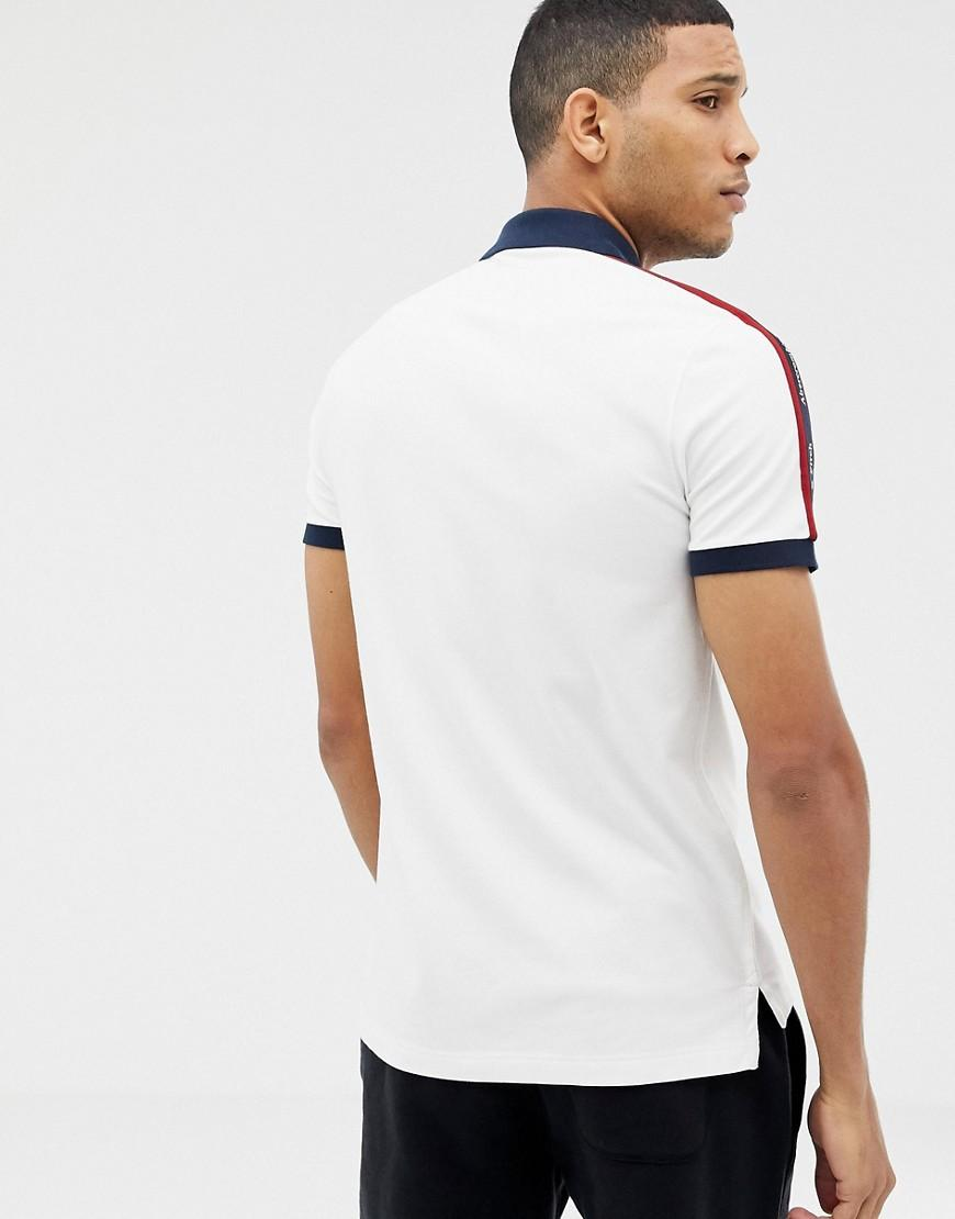 105c8882 Lyst - Abercrombie & Fitch Taped Logo Contrast Collar Pique Polo Slim Fit  In White in White for Men