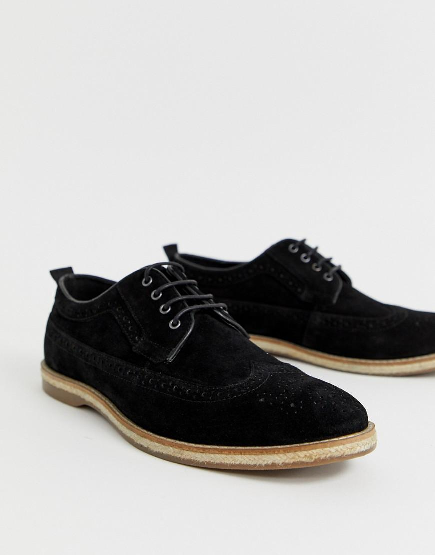 0da4137fc0628 ASOS Brogue Shoes In Black Suede With Jute Sole in Black for Men - Lyst