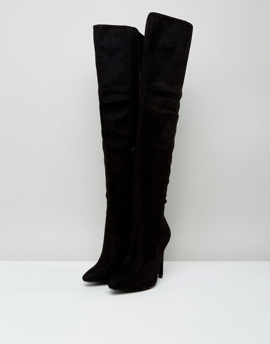 7e177c8fef38 Truffle Collection Wide Fit Thigh High Stiletto Boot in Black - Lyst