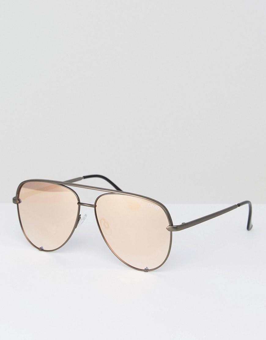 c43487b5357 Lyst - Quay X Desi Perkins High Key Aviator Sunglasses In Rose Gold ...