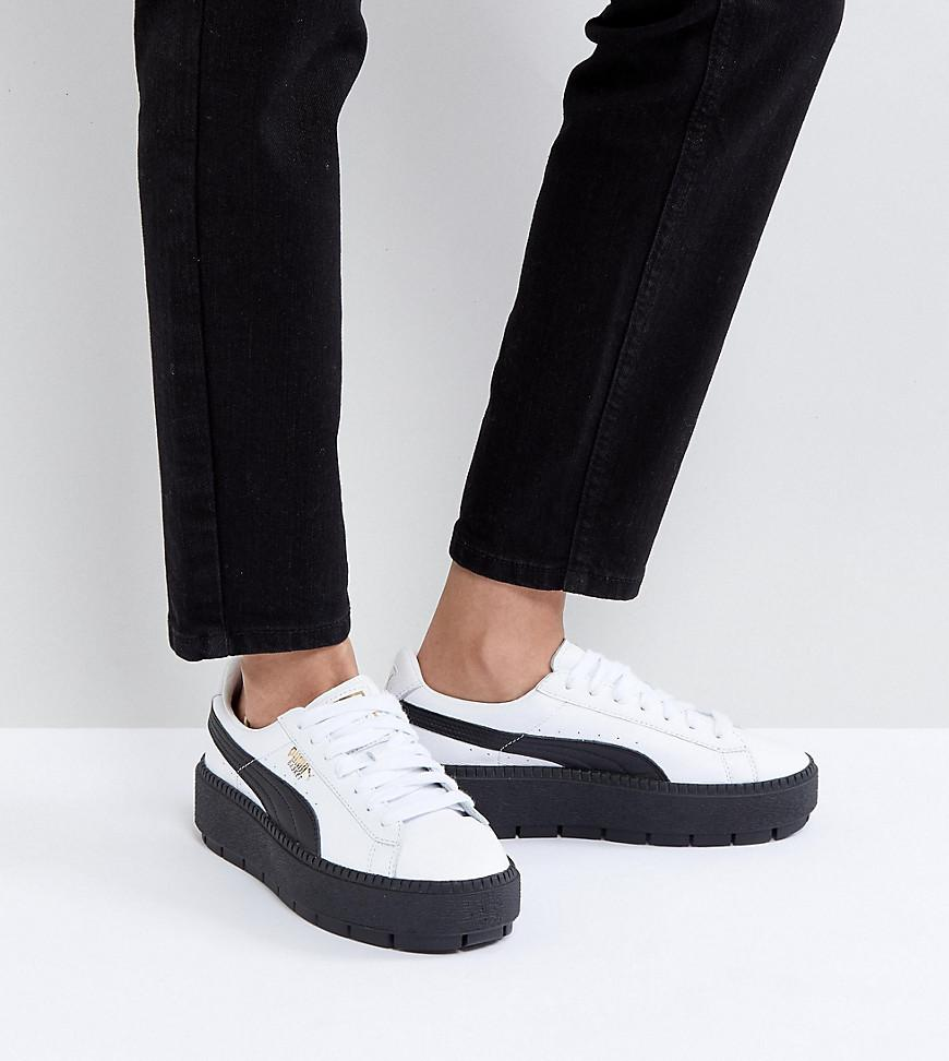 pick a best cheap online Puma Platform Trace Trainers In Black With Gum Sole sale official site MxmlchiCdm
