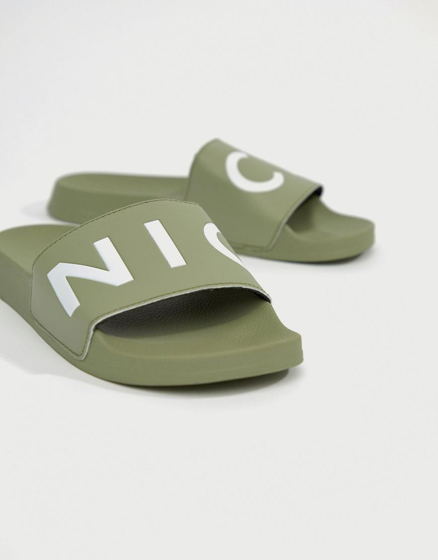 free shipping great deals Nicce logo sliders in khaki cheap 2014 unisex buy authentic online 6tHAA