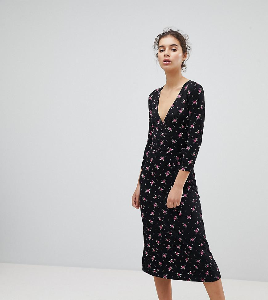 954afe8e9cf Miss Selfridge Wrap Front Ditsy Floral Print Midi Dress in Black - Lyst