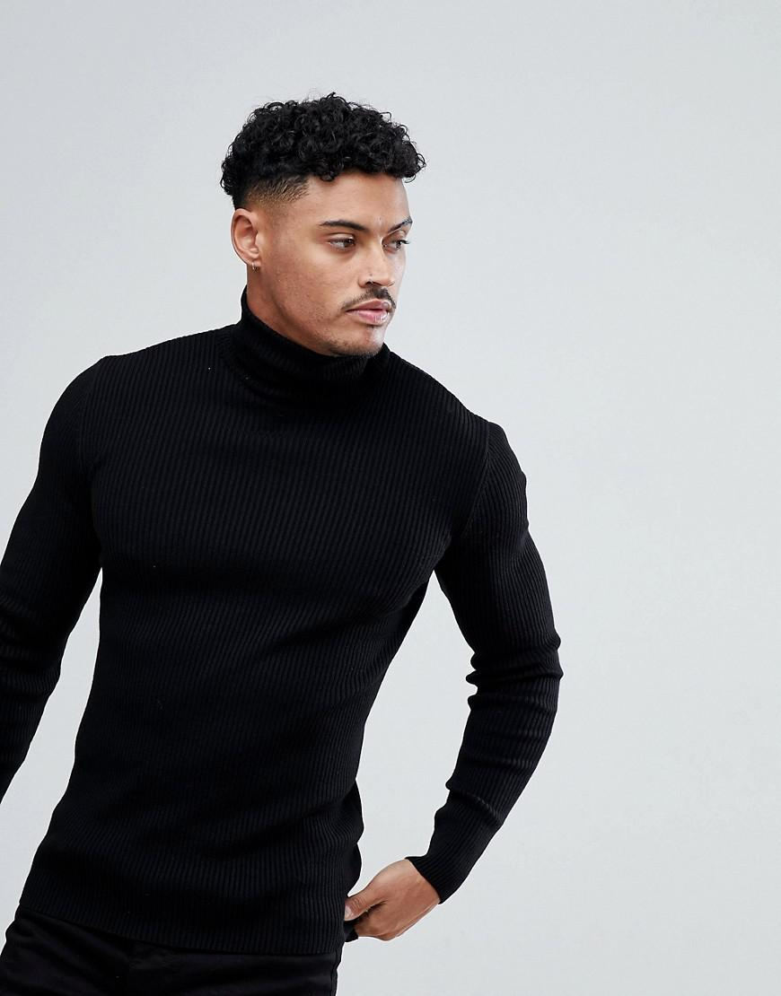 6d6ad642d1a2f Lyst - ASOS Muscle Fit Ribbed Roll Neck Jumper In Black in Black for Men