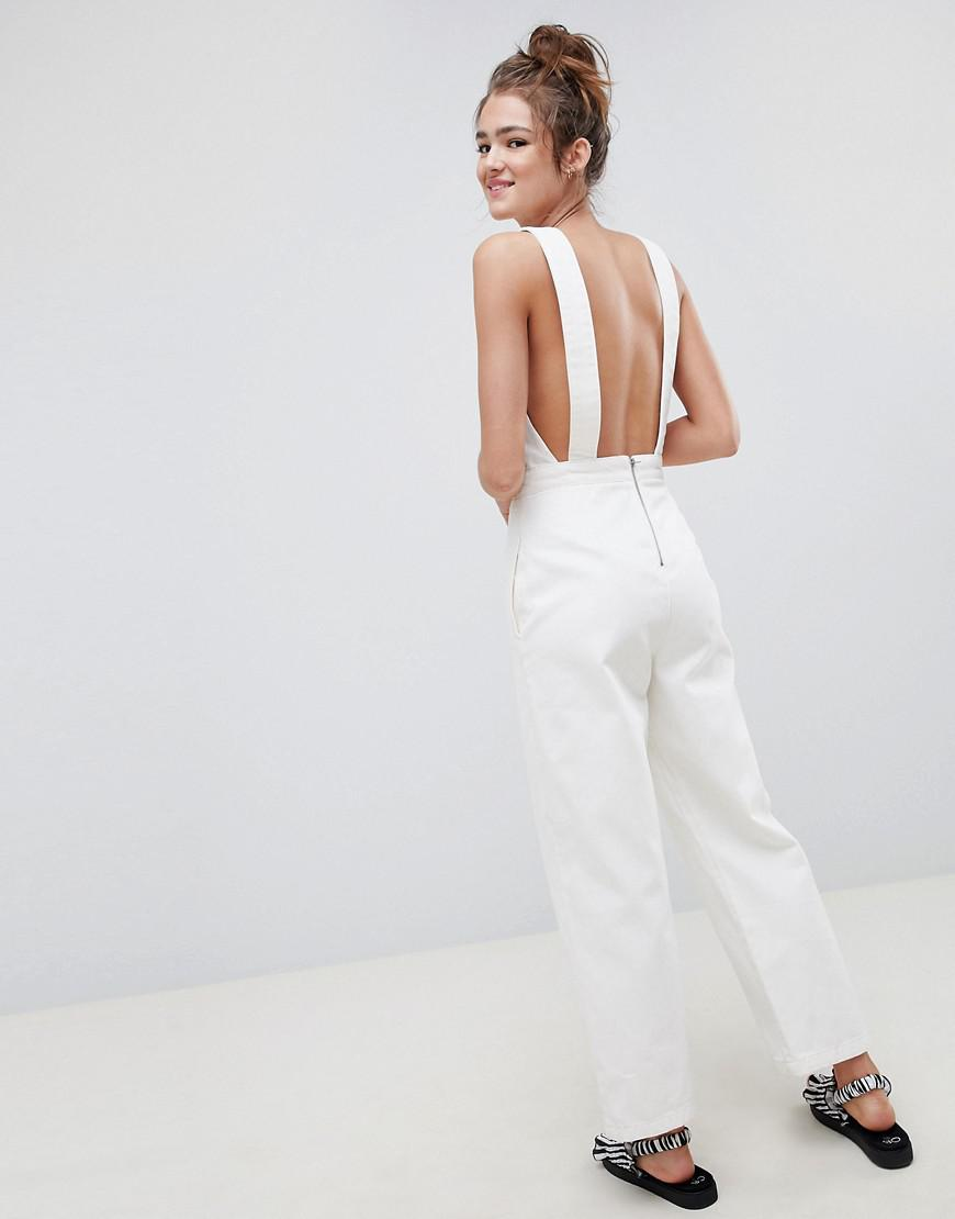 f7cf7654979 ASOS Denim Jumpsuit In White With Popper Detail in White - Lyst