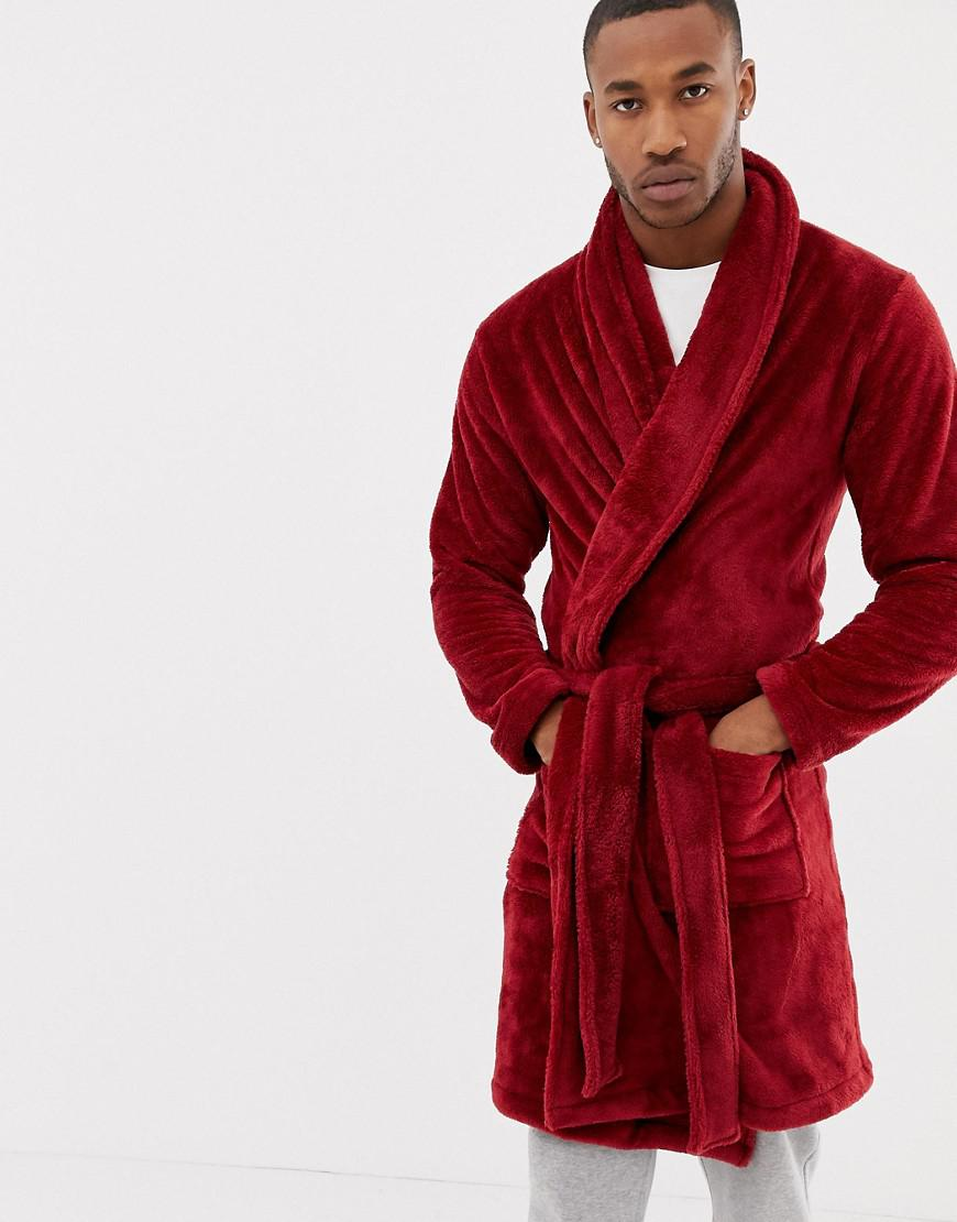 Lyst - ASOS Fluffy Robe In Red in Red for Men d36e6cfff