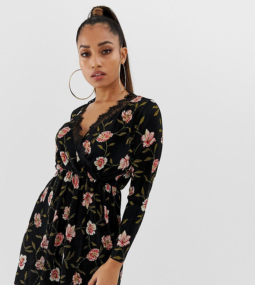 b779741d81001 Lyst - ASOS Asos Design Petite Mini Plisse Wrap Dress With Lace Trim ...