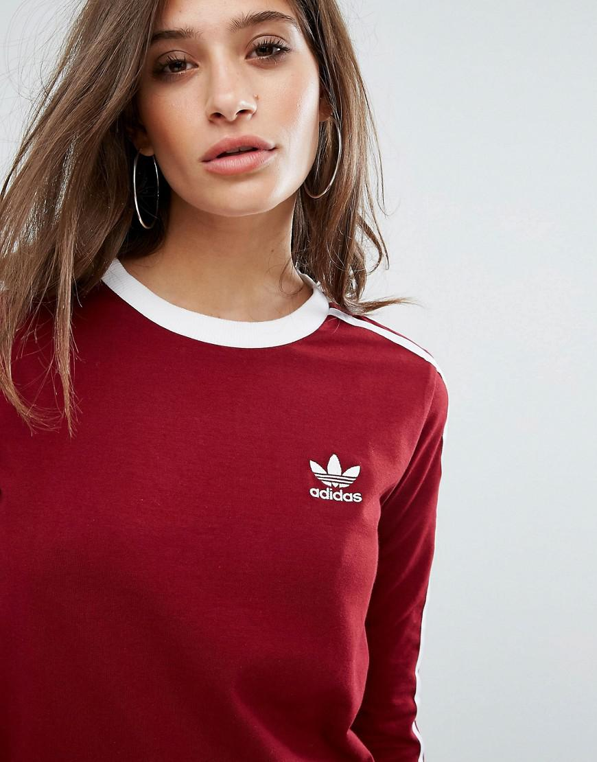 Adidas Originals Originals Three Stripe Long Sleeve Top In Burgundy
