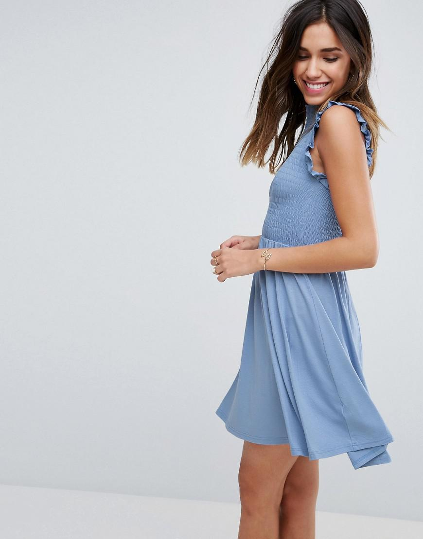 Lyst - ASOS Mini Skater Dress With Shirring Panel in Blue 0146c33c6