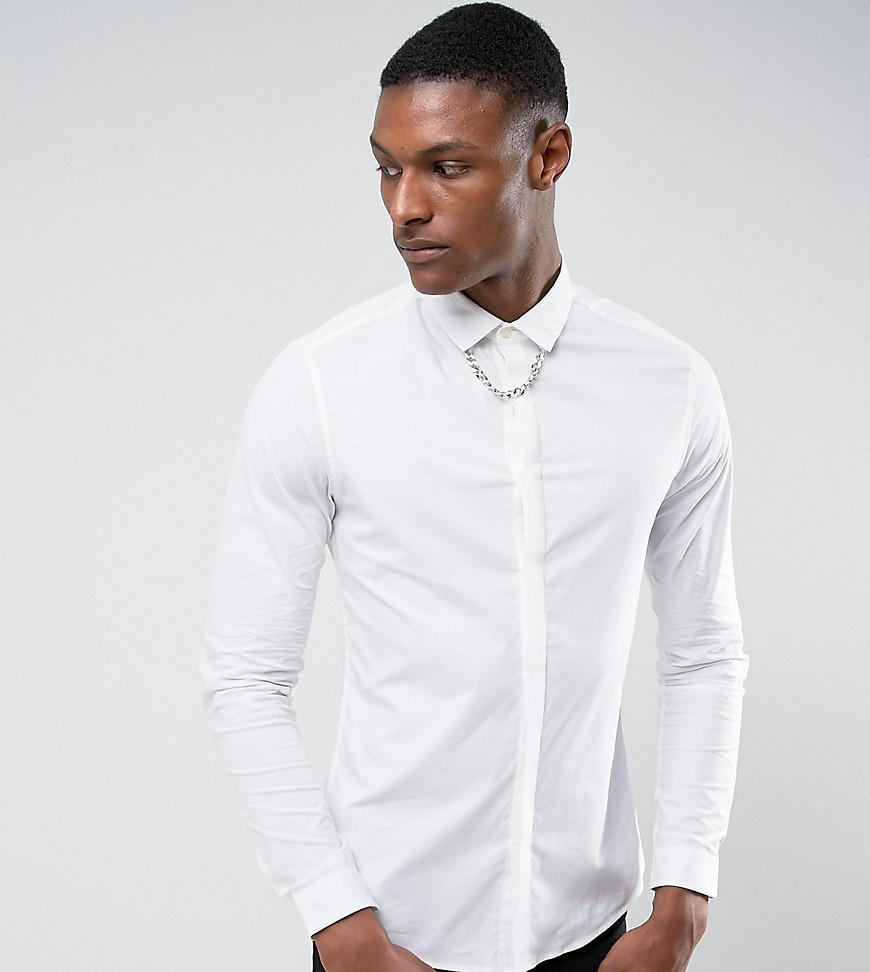 Sale Footlocker Pictures TALL Slim Fit Shirt With Chain Detail - White Asos Enjoy Online g4UJjp7UZs