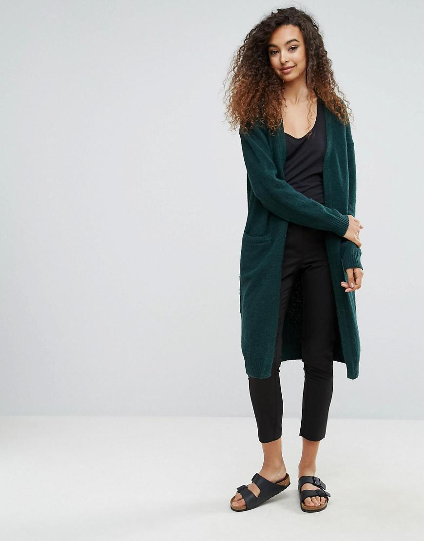 Ichi Longline Cardigan in Green | Lyst