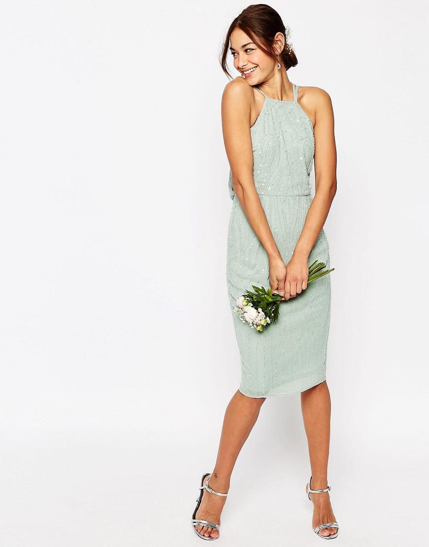 Lyst - ASOS Wedding Embellished Cami Drape Back Midi Pencil Dress in ... d8f14399a