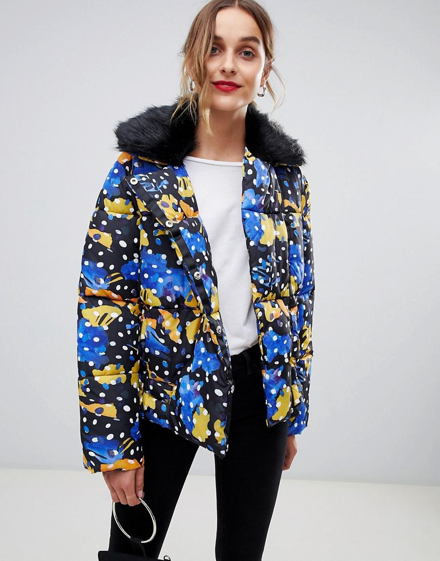 63e33bae8cdbf Lyst - Lost Ink Padded Jacket With Faux Fur Collar In Polka Dot in Blue