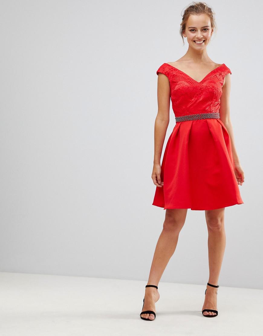 694de4ceed27a Little Mistress. Women s Red V Front   Back Skater Dress With Embellished  Waist