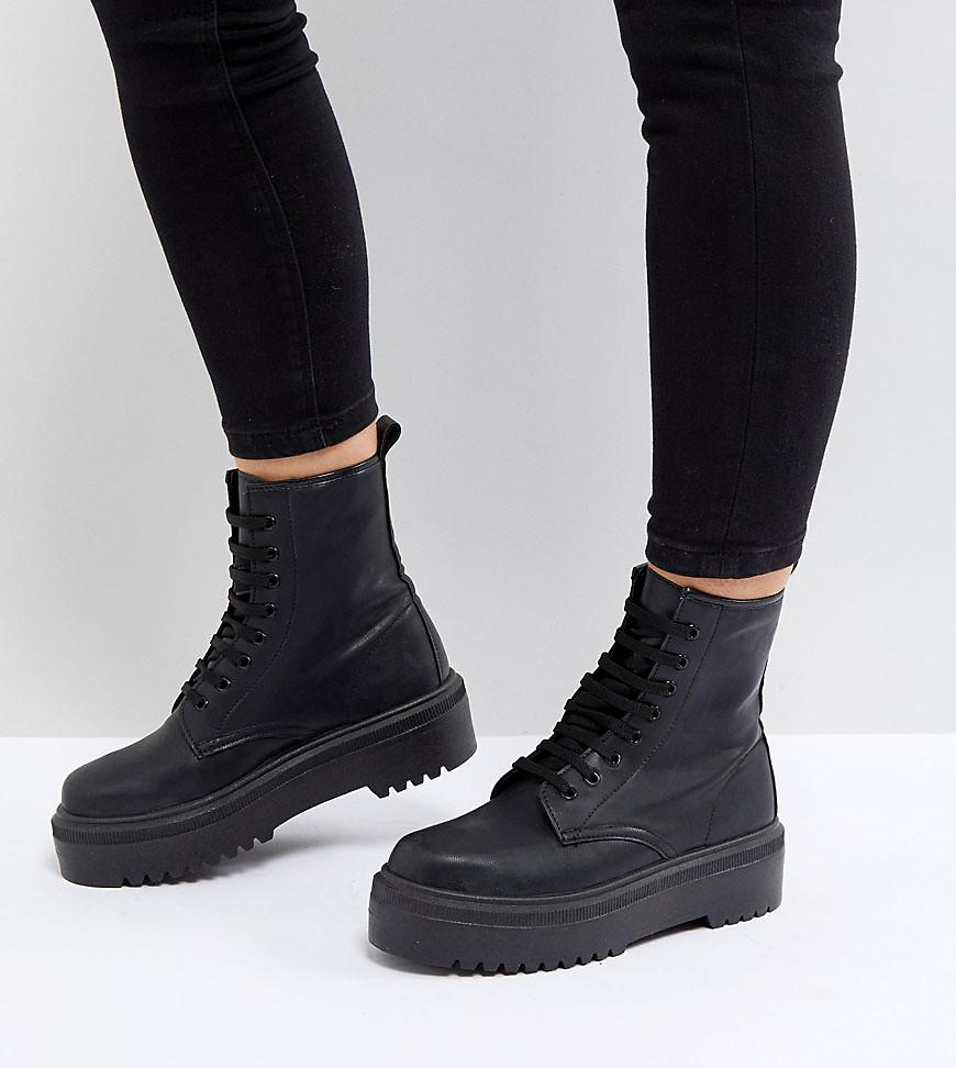 e8bbe7029758 ASOS Attitude Wide Fit Chunky Lace Up Boots in Black - Lyst