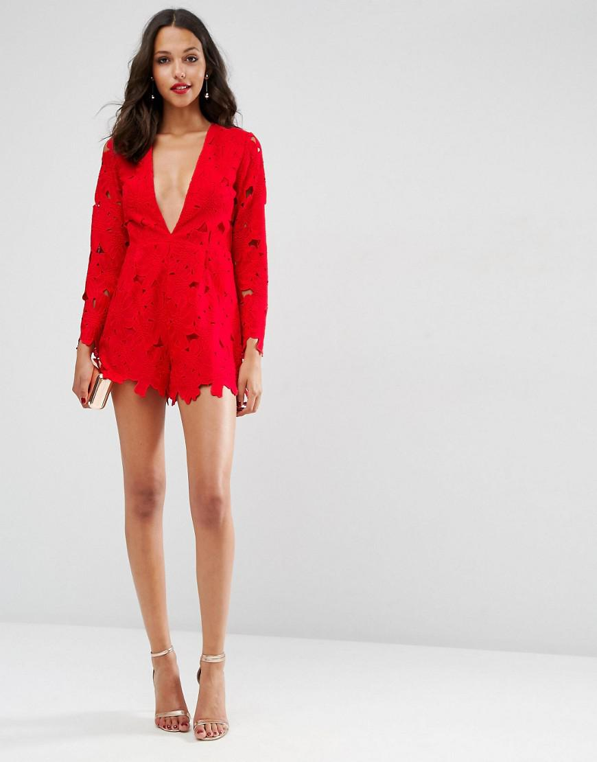 0f17881a3bdd Lyst - ASOS Premium Low Plunge Cutwork Lace Playsuit in Red