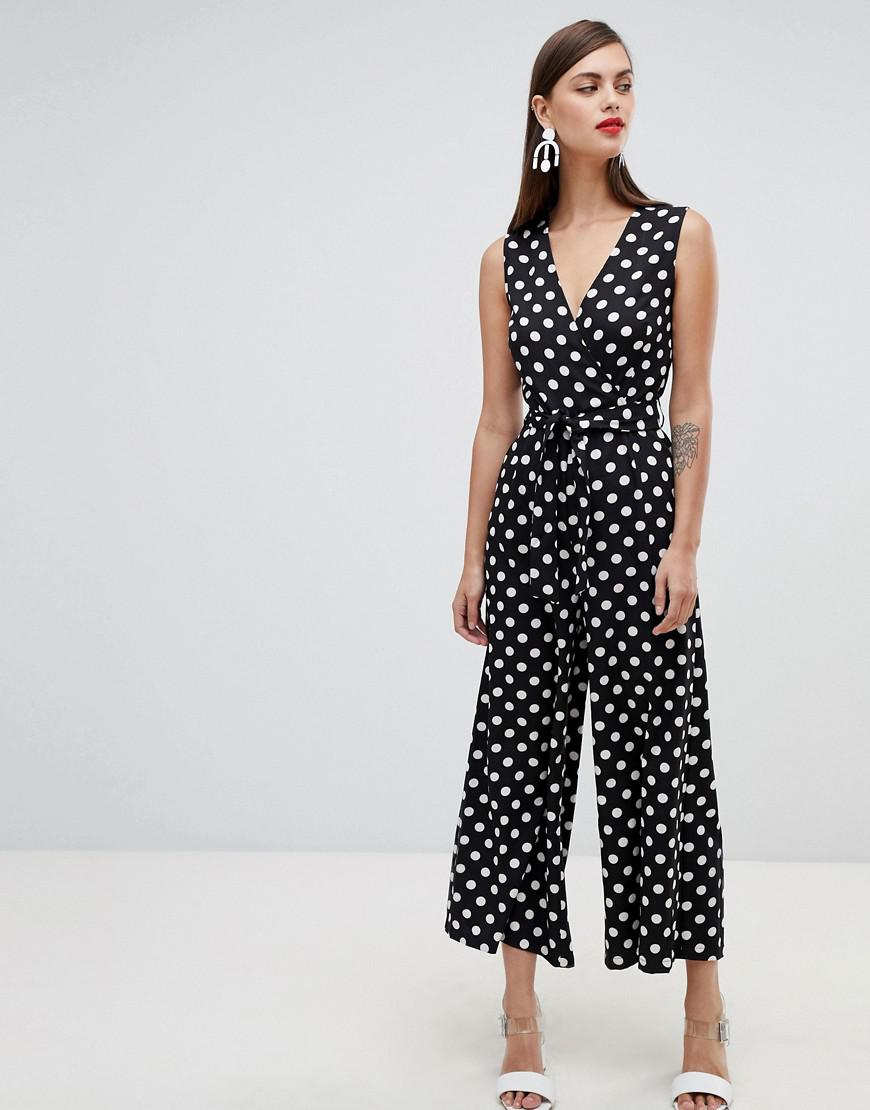 95a5f20558 UNIQUE21 Unique 21 Polka Dot V Neck Sleeveless Jumpsuit in Black - Lyst