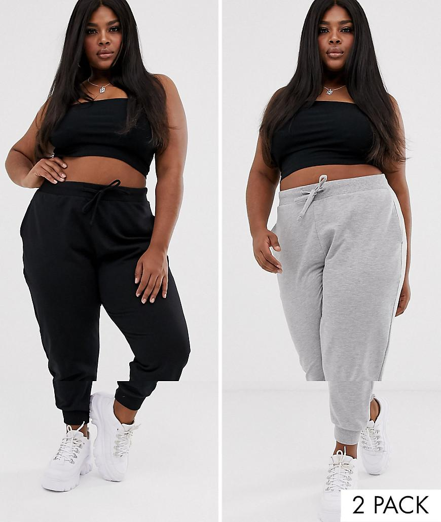 bd0caf6aae7a02 ASOS. Women's Asos Design Curve Basic jogger With Tie 2 Pack Save