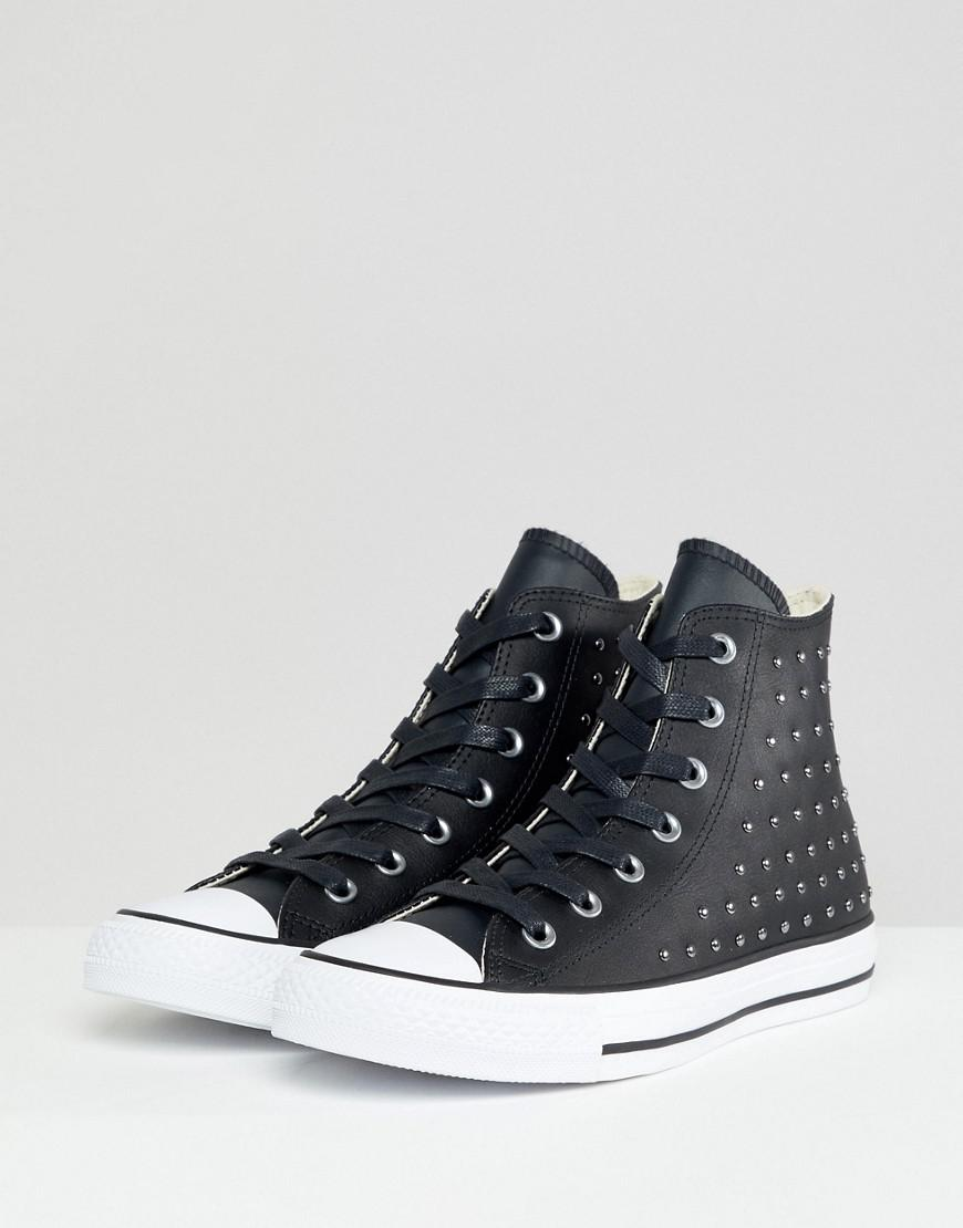 Converse Chuck Taylor All Star Leather Studded Hi Sneakers In Black ... 9bffac06b