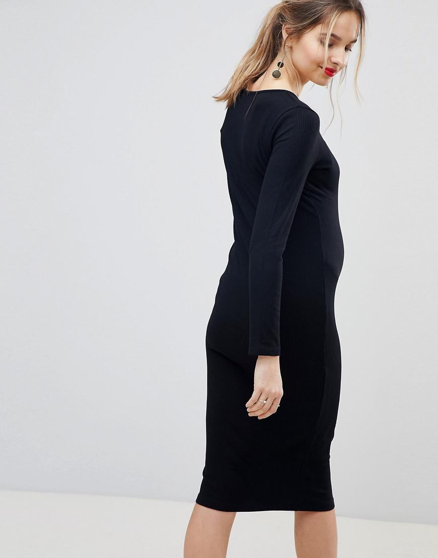 fc4d3a4247df Lyst - ASOS Asos Design Maternity Midi Long Sleeve Bodycon Dress With  Popper Front in Black
