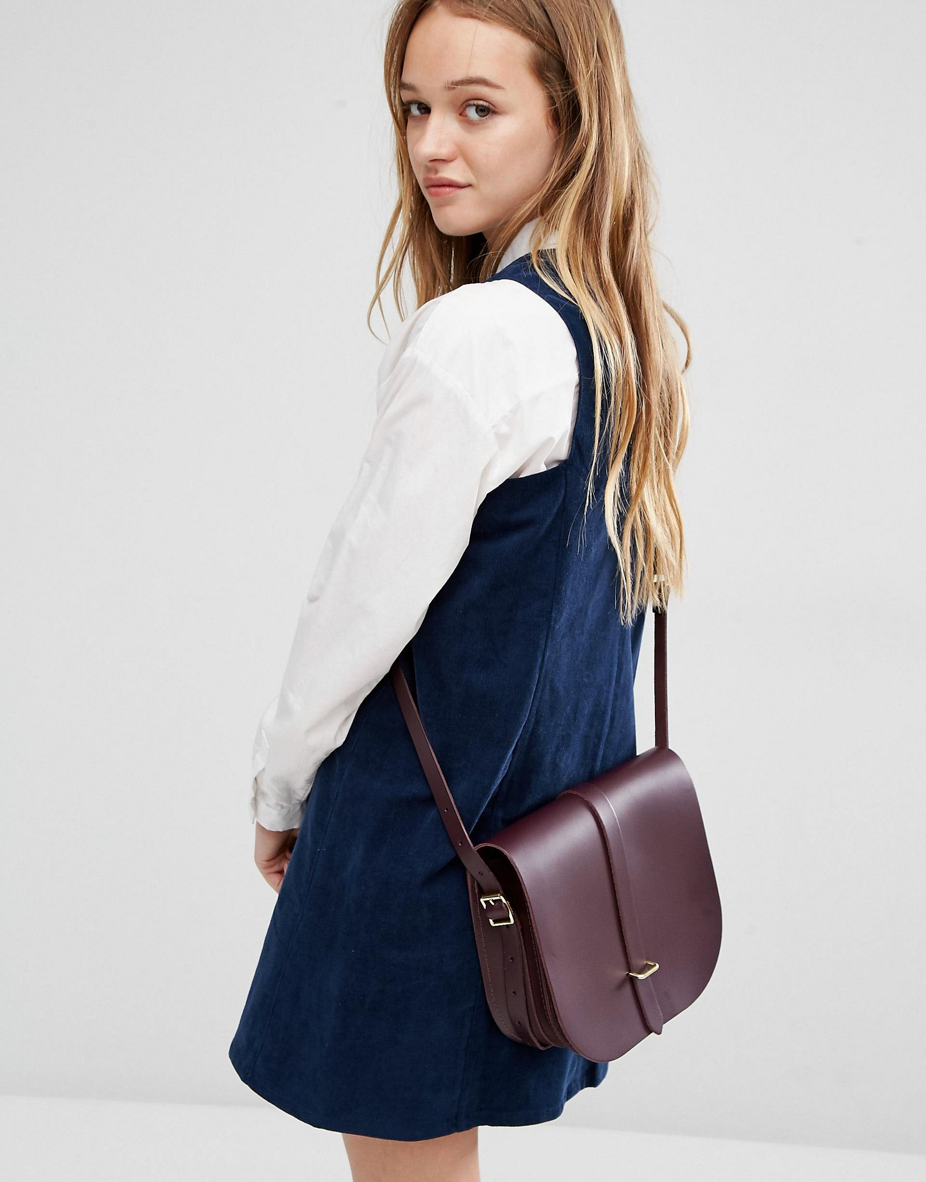Cambridge satchel company The Large Saddle Bag in Purple | Lyst