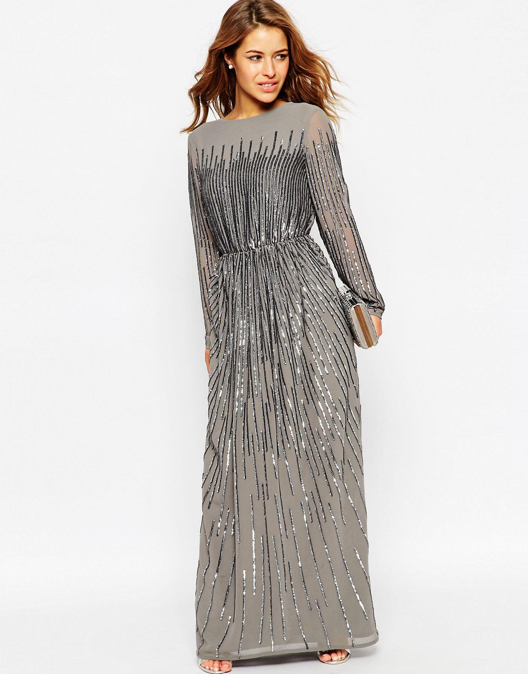 8700707327a ASOS Petite Linear Sequin Long Sleeve Maxi Dress in Gray - Lyst
