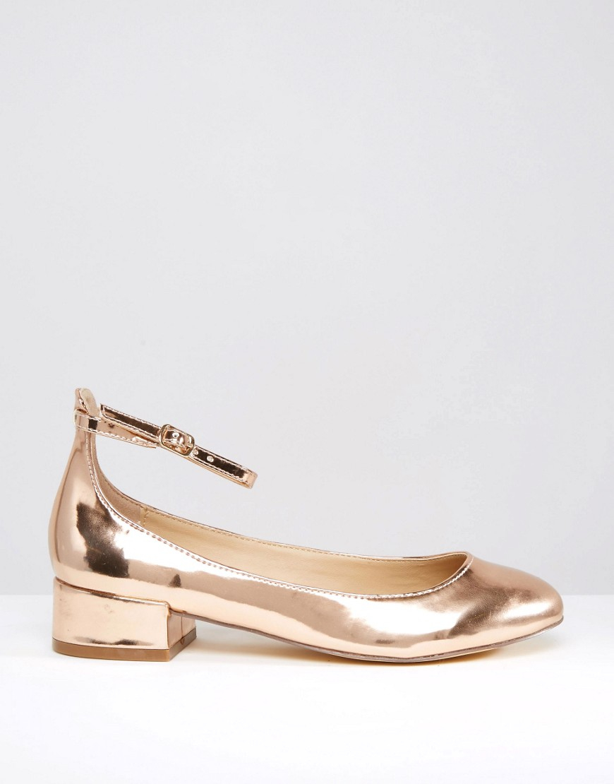 b7fc948ebe41 Lyst - Blink Ankle Strap Low Heeled Ballerina Shoes in Metallic