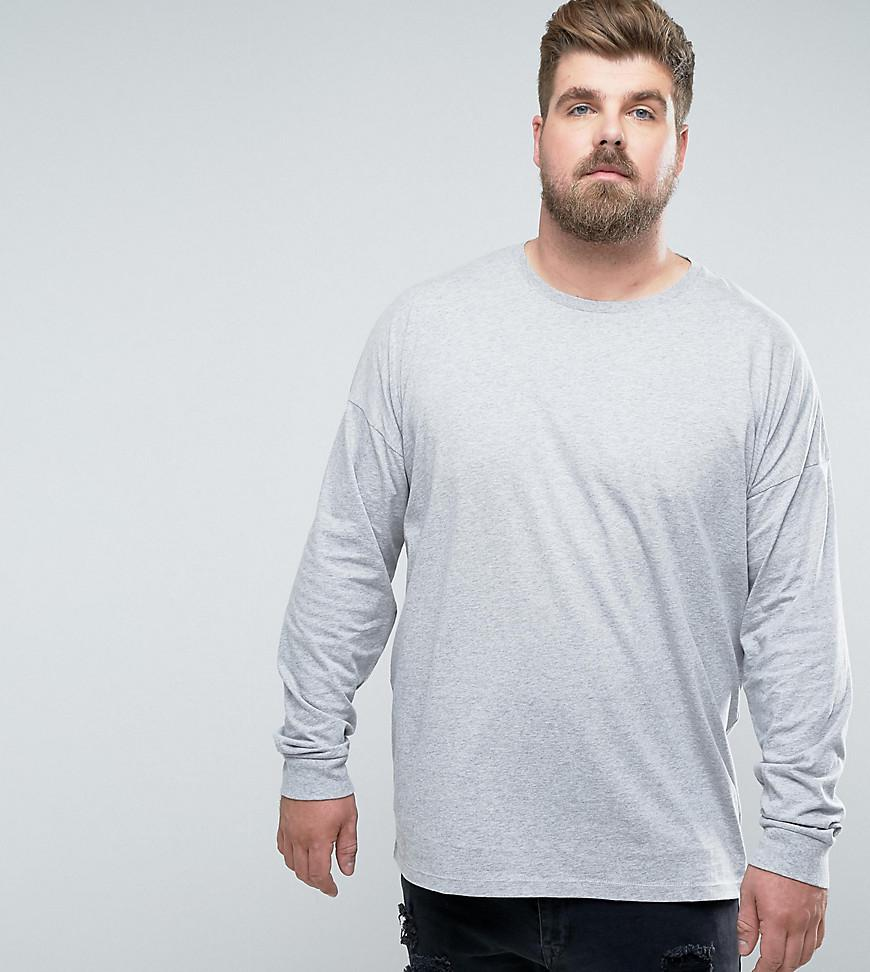 Outlet With Paypal Order Online Inexpensive For Sale Relaxed Fit Roll Long Sleeve T-Shirt In Grey - Porpoise Asos Free Shipping 2018 Newest Clearance Store Sale Online CI4DG