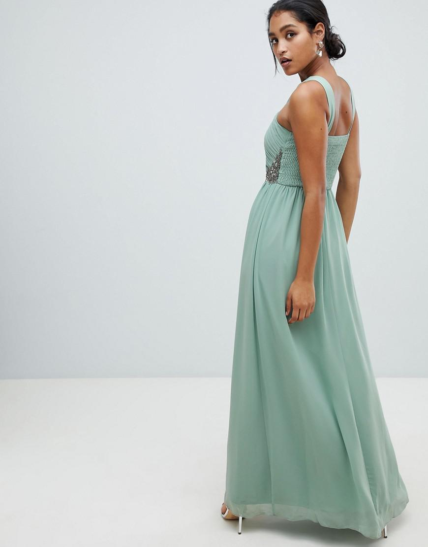 99b9b895b2 Lyst - Little Mistress Ruched Maxi Dress With Embellished Detail in Green