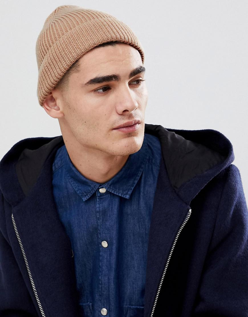 Lyst - ASOS Fisherman Beanie In Stone Recycled Polyester for Men c6014e1548b